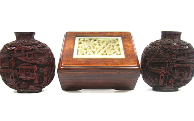 Two cinnabar lacquer-style snuff bottles and a small hardwood box inset with jade