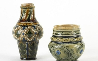 Two stoneware vases in the style of Martin Brothers