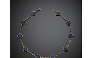"""VAN CLEEF & ARPELS Yellow gold and lapis """"Alhambra"""" necklace,..."""