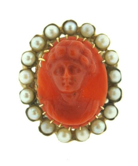VICTORIAN C.1900 ANTIQUE CARVED CORAL PEARL PORTRAIT
