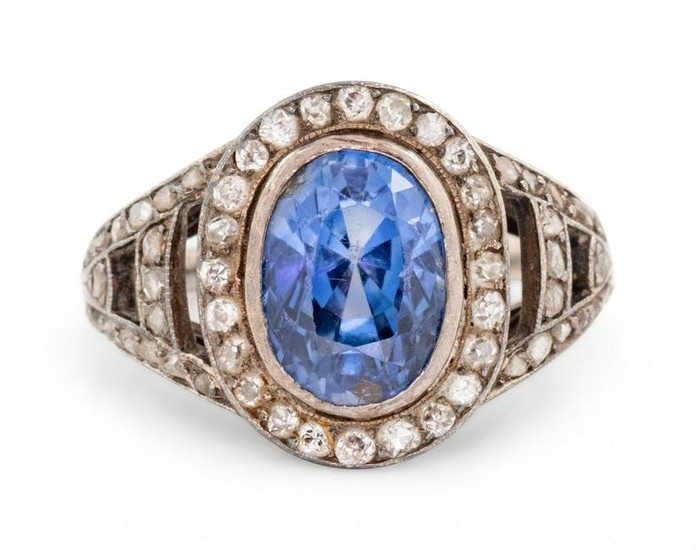 VICTORIAN, SAPPHIRE AND DIAMOND RING