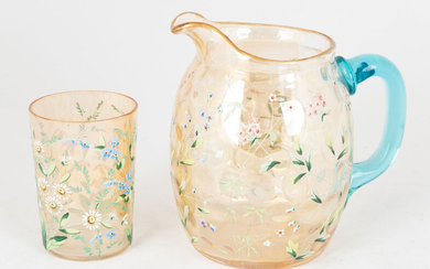 Victorian Enameled Glass Pitcher and Tumbler