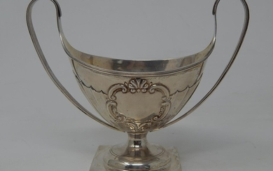 Victorian Silver Sugar Boat with Twin Whiplash Handles, Embo...