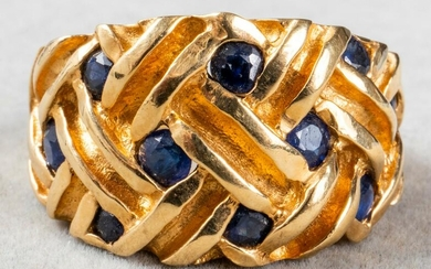 Vintage 18K Yellow Gold & Sapphire Woven Ring