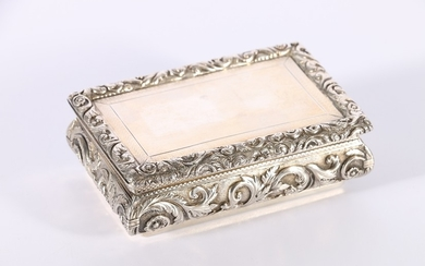 William IV silver box, the hinge top with scrolling foliate ...