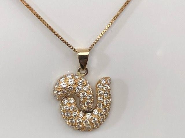 Yellow gold Necklace with pendant approx 2.20 ct