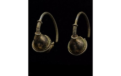VIKING AGE GILDED SILVER TEMPLE EARRINGS