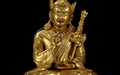 A gilt copper-alloy figure of Padmasambhava