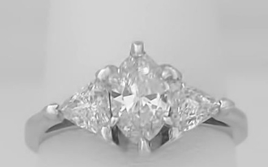 14k WHITE GOLD MARQUISE TRILLION NATURAL 1.18ctw THREE