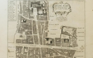 1720 Strype Ward Map of London's Cheape Ward Between