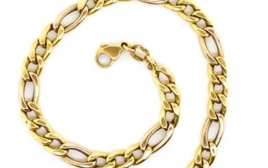 18ct yellow gold figaro chain bracelet with a 9ct marked cla...