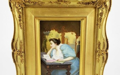 19th C. KPM Plaque of Woman Signed Wagner