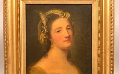 19th Century Oil on Canvas of a Portrait of a Lady.