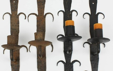 19th c French Wrought Iron Candle Sconces