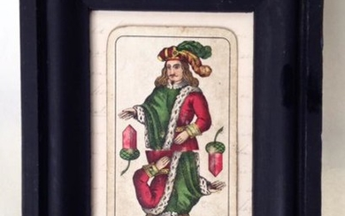 19thc Hand Colored Playing Card. Jack