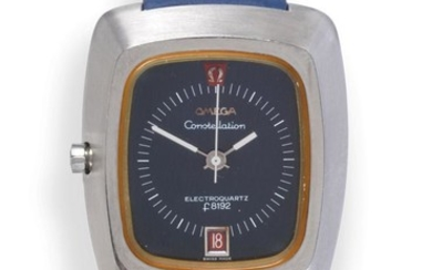A Stainless Steel Electronic Calendar Centre Seconds Wristwatch, signed Omega,...