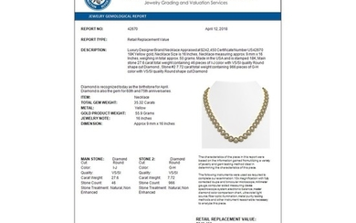 35.32 CTW Diamond Designer Necklace 18K Yellow Gold - REF-5509Y8X