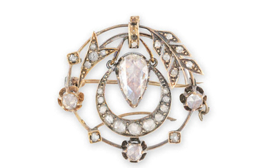 Description AN EARLY 19TH CENTURY DIAMOND BROOCH The openwork...