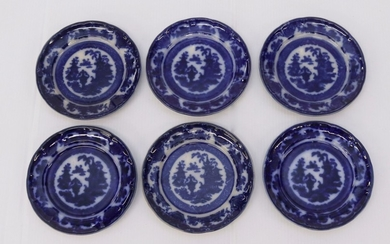 (6) ANTIQUE FLOW BLUE PLATES