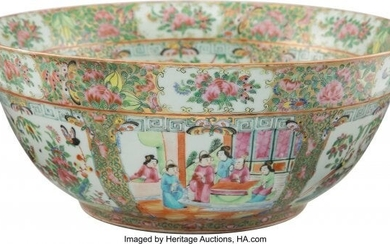 61012: A Chinese Rose Medallion Porcelain Bowl, 19th ce