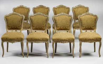(8) Italian Louis XV style side chairs in damask