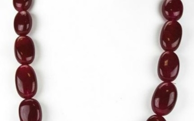 800 Carat Ruby Necklace w Tumbled Beads