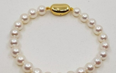 925 Silver - Top grade 7x7.5mm Akoya Pearls - Bracelet