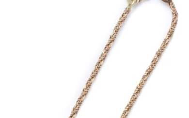 A 14CT GOLD BRACELET; twisted foxtail chain to a bolt ring clasp and safety chain, length 18cm, wt. 2.52g.