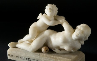 A 18th century alabaster group of Venus and Cupid