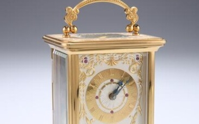 A 20TH CENTURY GILT METAL CASED CARRIAGE CLOCK, SIGNED
