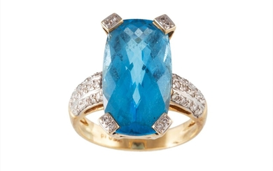 A BLUE TOPAZ SINGLE STONE RING, diamond accent to claws and ...