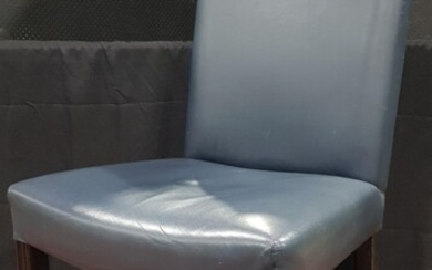 A Blue Vinyl Upholstered Library Chair in the Georgian taste with black painted legs and castors (H:102cm) (leather)