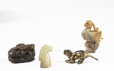 A CHINESE GROUP OF THREE JADE CARVINGS AND A GILT