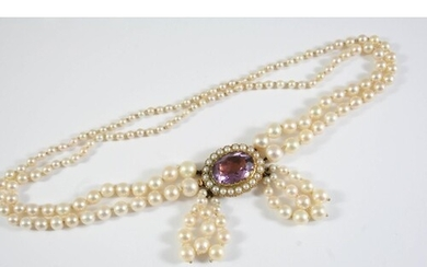 A CULTURED PEARL AND AMETHYST CHOKER the pearls graduate fro...