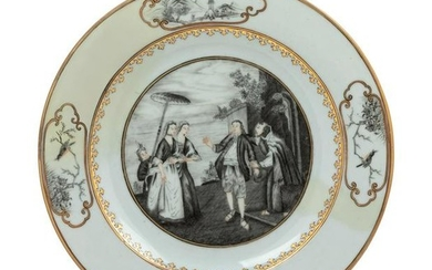A Chinese Export Gilt and Grisaille Porcelain European