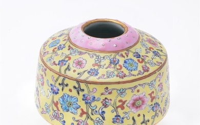 A Chinese Famille Rose drum-shaped top of a Tibetan-form alter vase