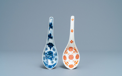A Chinese blue and white and an iron red spoon, Daoguang and Guangxu mark and of the period