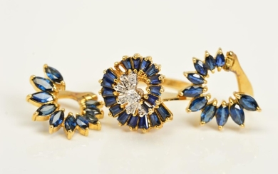 A DIAMOND AND SAPPHIRE RING AND PAIR OF EARRINGS, the ring d...