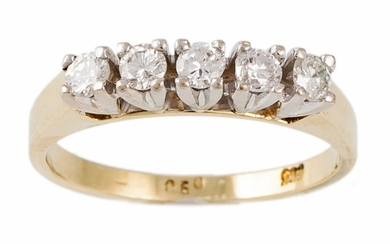 A DIAMOND FIVE STONE RING, the diamonds estimated to weigh 0...