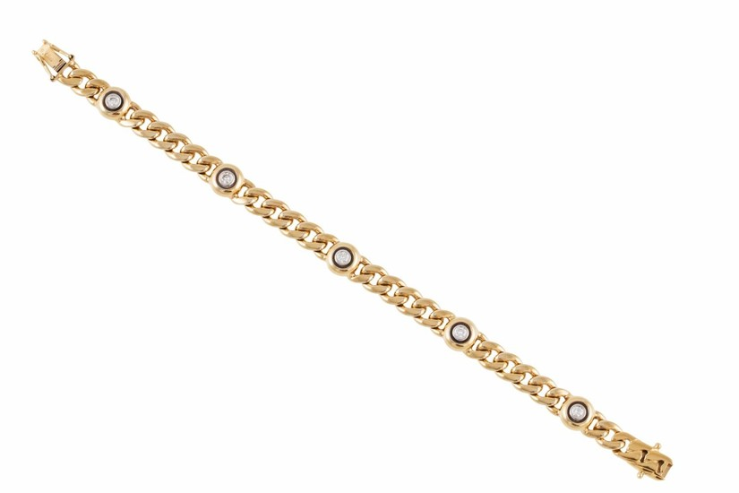 A DIAMOND SET BRACELET, the collet set diamonds linked by cu...