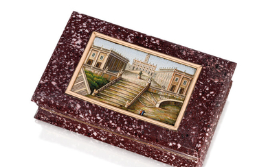 A FRENCH GOLD-MOUNTED HARDSTONE SNUFF-BOX SET WITH A MICROMOSAIC PLAQUE, THE BOX, MAKER'S MARK INDISTINCT, PARIS, WITH THE PARISIAN EXCISE AND THIRD STANDARD MARKS FOR GOLD 1819-1838 AND THE FRENCH POST-REVOLUTIONARY UNOFFICIAL STANDARD MARK FOR 18...