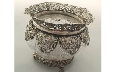 A Fine Edwardian Sterling Silver and Cut Glass Bowl. William...