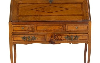 A French Provincial Parquetry Slant-Front Desk