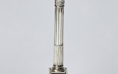 A GEORGE V STERLING SILVER CORINTHIAN COLUMN TABLE LAMP