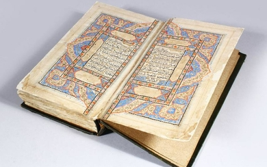 A GOOD 16TH / 17TH CENTURY LEATHER BOUND OTTOMAN /