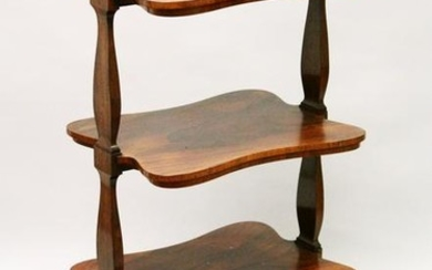 A GOOD 19TH CENTURY ROSEWOOD THREE TIER WHAT-NOT, with