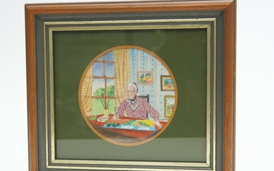A GOUACHE PAINTING DEPICTING AMERICAN FOLK ARTIST GRANDMA MOSES IN HER STUDIO BY DOROTHY L MORRIS, 22 X 22CM (INCLUDING FRAME), LEON...