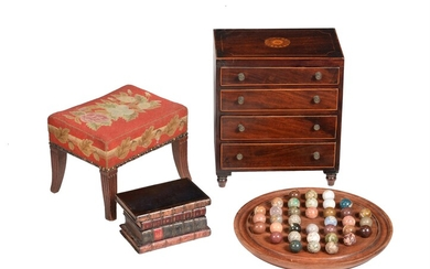 A George III mahogany and inlaid miniature chest of drawers
