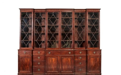 A George III mahogany breakfront library bookcase, circa 1790