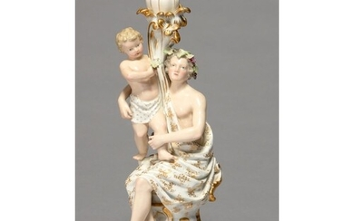 A MEISSEN FIGURAL CANDLESTICK, LATE 19TH C, IN THE FORM OF A...